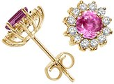 Tommaso design Studio Tommaso Design Round 5mm Created Pink Sapphire and Diamonds Earrings 14k