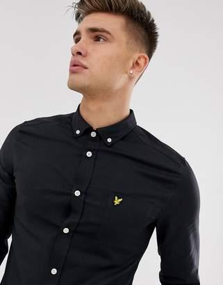 Lyle & Scott slim fit long sleeve button down oxford shirt in black