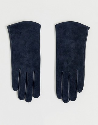 Barneys New York real leather and suede mix gloves in navy