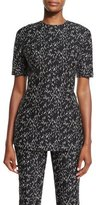 Lela Rose Minnow Jacquard Peplum Top, Black/Ivory