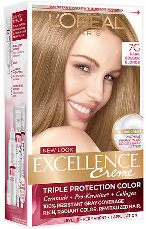 L'Oreal Excellence Triple Protection Permanent Hair Color Creme Dark Golden Blonde 7G