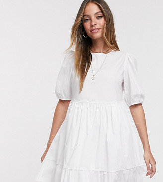 New Look Petite mini poplin smock dress with puff sleeves in white