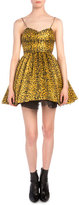 Saint Laurent Leopard-Print Plisse Fit-And-Flare Dress
