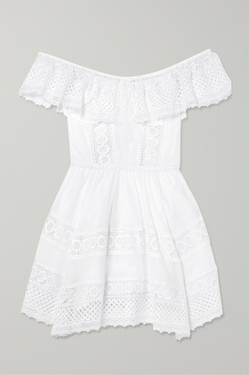 Charo Ruiz Ibiza Vaiana Crocheted Lace-paneled Cotton-blend Mini Dress - White