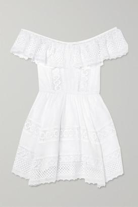 Charo Ruiz Ibiza Vaiana Crocheted Lace-paneled Cotton-blend Mini Dress - White