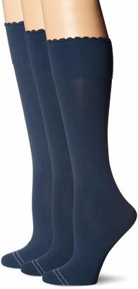 Hue Women's Graduated Compression Knee Hi Socks 3 Pair Pack Assorted