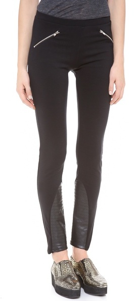 So Low SOLOW Jodhpur Leggings with Faux Leather Patches