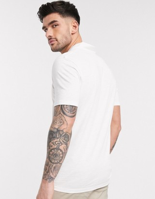 Selected organic cotton revere collar marl t-shirt in white
