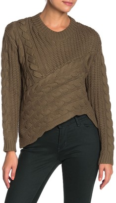 Line & Dot Vanessa Asymmetrical Cable Knit Sweater
