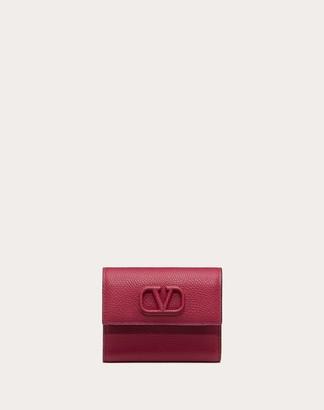 Valentino Small Vsling Grainy Calfskin Wallet Women Raspberry Pink Calfskin 100% OneSize