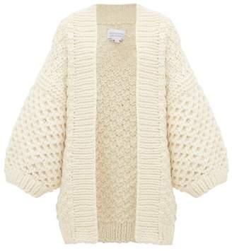 I Love Mr Mittens Oversized Honeycomb Knit Wool Cardigan - Womens - Cream