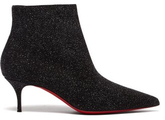Christian Louboutin So Kate Booty 55 Glittered-leather Ankle Boots - Black