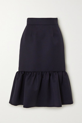 Miu Miu Ruffled Wool Skirt - Navy