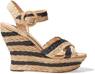 Alice + Olivia Josiey Striped Braided Raffia Wedge Sandals