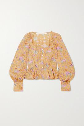 ANNA MASON Rosemary Floral-print Cotton-poplin Peplum Blouse - Mustard