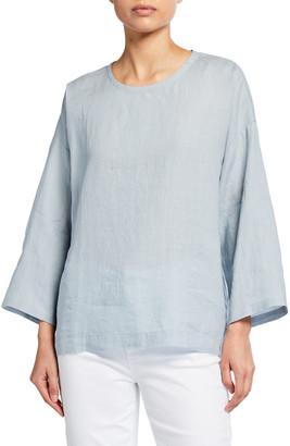 Eileen Fisher Boxy Linen Round-Neck Top