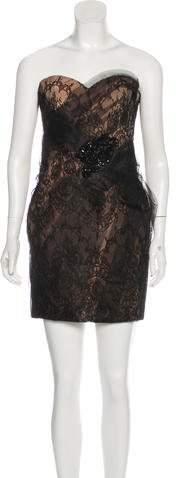 Marchesa Strapless Lace Dress