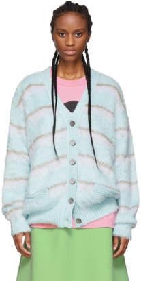 Marc Jacobs Blue Striped Silk Cardigan