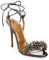 Aquazzura Monaco Crystal & Leather Sandals