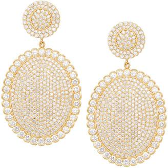 Jamie Wolf 18k Scalloped Diamond Pave Oval Drop Earrings