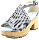 Eric Michael Darien Women Open Toe Leather Silver Platform Sandal.
