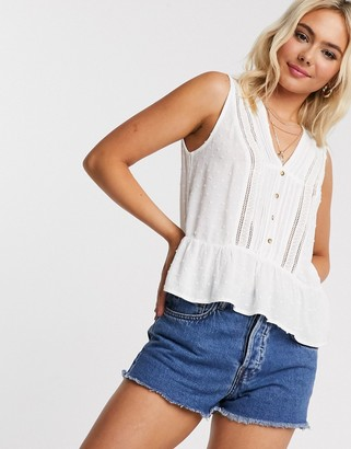 Pimkie v neck cotton blouse in white