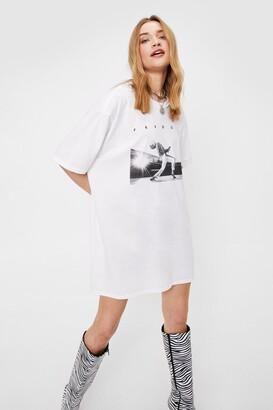 Nasty Gal Womens Freddie Mercury Graphic Band Tee Dress - White - S, White