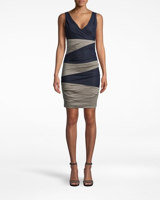 Nicole Miller Solid Cotton Metal V-neck Tuck Dress