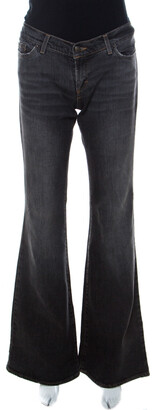Just Cavalli Charcoal Grey Light Wash Denim Ripped Pocket Detail Flared Jeans S