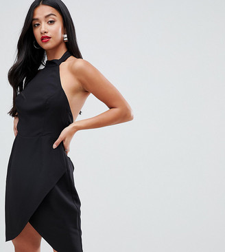 Asos DESIGN Petite halter neck sexy mini dress-Black