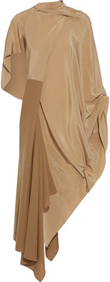 Roland Mouret Calhern Asymmetric Draped Silk Crepe De Chine And Wool-crepe Midi Dress