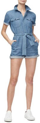 Good American The Waist Tie Denim Romper