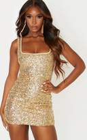 PrettyLittleThing Gold Sequin Sleeveless Square Neck Bodycon Dress