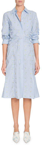 Altuzarra Button-Front Long-Sleeve Cotton Dress