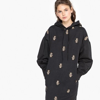 La Redoute Collections Embroidered Jewelled Hooded Sweat Dress
