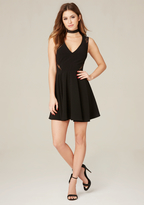 Bebe Lace Inset Flared Dress