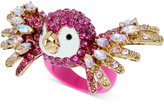 Betsey Johnson Gold-Tone Multi-Stone Fuchsia Parrot Ring
