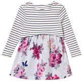 Joules Grey Stripe and Floral Jersey Dress