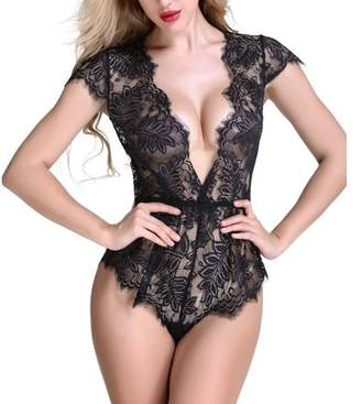 Anyou Sexy Lingerie Lace Teddy features Plunging Eyelash and Snaps Crotch Black Medium