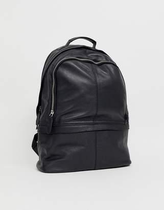 Asos Design DESIGN leather harvard backpack-Black