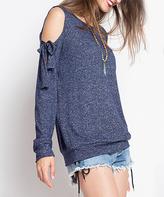 Blu Heaven Navy Melange Sleeve-Tie Cold-Shoulder Pullover