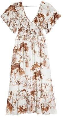 Sandro Paris Long Ruffle Print Dress