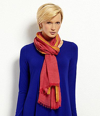 Eileen Fisher Wool Silk Herringbone Scarf