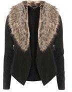 Dorothy Perkins Womens Black Faux Fur Collar Waterfall Jacket- Black