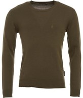 French Connection Mens 12G Crew Neck Jumper Khaki