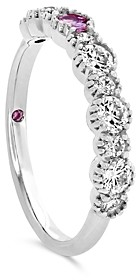 Paige Hayley for Hearts on Fire 18K White Gold Behati Beaded Band with Diamonds & Pink Sapphires