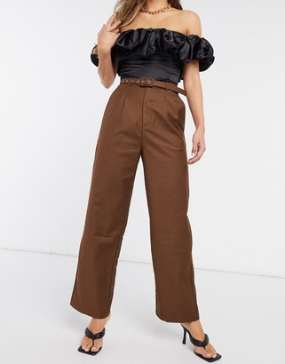 Emory Park high waist belted trousers in chocolate