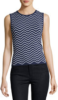 Pink Tartan Stretch-Knit Chevron Top, Blue/White