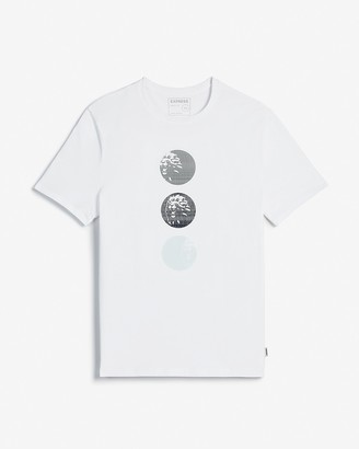 Express White Triple Lion Graphic T-Shirt