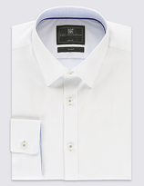 Limited Edition 2in Longer Cotton Rich Slim Fit White Stretch Shirt